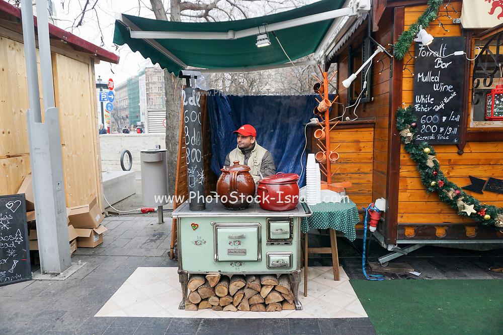 Eastern Europe, Hungary, Budapest, outdoor street market food vendor