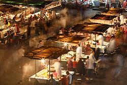 Food stalls at night, Jemaa el Fna square, Marrakesh, Morocco