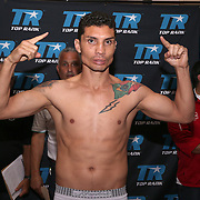Claudionei Lacerda is seen during weigh ins for the Top Rank boxing event at Osceola Heritage Park in Kissimmee, Florida on September 21, 2016.