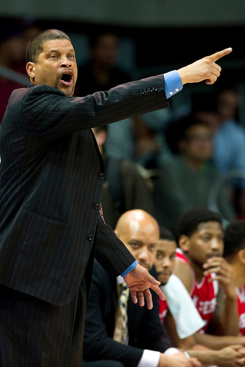 DALLAS, TX - JANUARY 21: Rutgers Scarlet Knights head coach Eddie Jordan has words with an official against the SMU Mustangs on January 21, 2014 at Moody Coliseum in Dallas, Texas.  (Photo by Cooper Neill/Getty Images) *** Local Caption *** Eddie Jordan