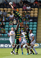 Rugby Union - 2020 / 2021 Gallagher Premiership - Round 21 - Northampton Saints vs Exeter Chief - Franklin Gardens.<br /> <br /> Northampton Saints' Tom Wood claims the lineout.<br /> <br /> COLORSPORT/ASHLEY WESTERN