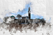 Digitally enhanced image of the Minaret and mosque of the shrine of Sidna Ali (Our Lord Ali), Hertzlia, Israel. Built in 1481 over the grave of Ali, who was killed fighting the crusaders in the nearby Apolonia fortress