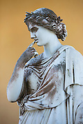 Stone statue of Calliope, Muse of epic poetry and rhetoric, at Achilleion Palace, Museo Achilleio, in Corfu, Greece