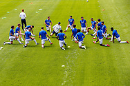 Queens Park Rangers players warming up before the EFL Sky Bet Championship match between Queens Park Rangers and Barnsley at the Kiyan Prince Foundation Stadium, London, England on 20 June 2020.