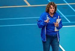 Coach Vera Koenen of Sliedrecht Sport in action during the supercup semifinal between VC Sneek and Sliedrecht Sport on October, 03 2020 in Van der Knaaphal, Ede
