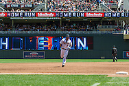 Ryan Doumit #9 of the Minnesota Twins rounds the bases after hitting a home run against the Seattle Mariners on June 2, 2013 at Target Field in Minneapolis, Minnesota.  The Twins defeated the Mariners 10 to 0.  Photo: Ben Krause