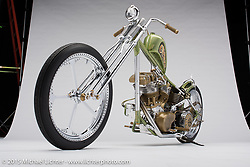 One Piece At A Time, a green handmade custom shovelhead circa early 70's built by Rick Bray of RKB in Hanford, CA. Photographed by Michael Lichter at the Sacramento Easyriders Show on January 16, 2015. ©2015 Michael Lichter