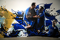 A general view of Leicester City artwork on a wall inside the ground prior to the Premier League match at the King Power Stadium, Leicester.