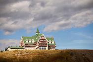 Eagles soar at the Prince of Wales Hotel overlooking Waterton Lake in, Waterton, Alberta, Canada.