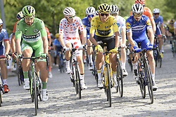 July 28, 2019, Paris, France: Slovakian Peter Sagan of Bora-Hansgrohe wearing the green jersey, French Romain Bardet of AG2R La Mondiale wearing the red polka-dot jersey, Colombian Egan Bernal of Team Ineos wearing the yellow jersey and French Julian Alaphilippe of Deceuninck - Quick-Step, ride the final stage of the 106th edition of the Tour de France cycling race, from Rambouillet to Paris Champs-Elysees (128km), France, Sunday 28 July 2019. This year's Tour de France starts in Brussels and takes place from July 6th to July 28th. (Credit Image: © Yorick Jansens/Belga via ZUMA Press)