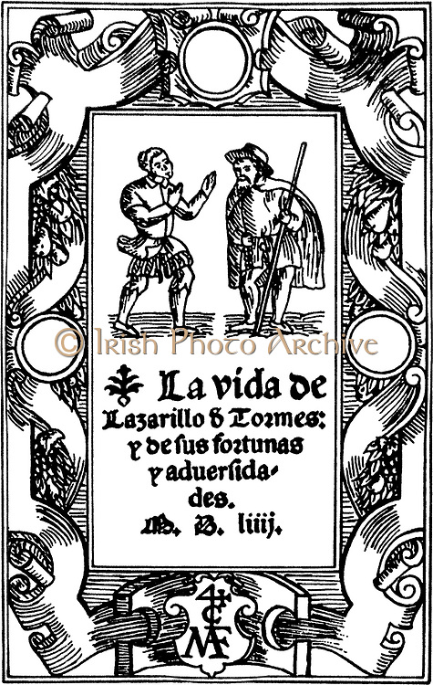 The Life of Lazarillo de Tormes and of His Fortunes and Adversities. Spanish novella, published anonymously, in 1554. At this time in Spain, there was a strong social trend towards racial and religious prejudice.  These novels expose injustice while amusing the reader. Lazarillo de Tormes was included in the Index of Forbidden Books of the Spanish Inquisition