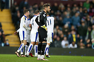 Aston Villa goalkeeper Mark Bunn looks on dejected as Leicester city players celebrate their opening goal scored by Shinji Okazaki.  Barclays Premier league match, Aston Villa v Leicester city at Villa Park in Birmingham, The Midlands on Saturday 16th January 2016.<br /> pic by Andrew Orchard, Andrew Orchard sports photography.