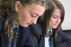 Secondary school students studying in class,