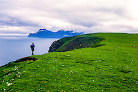 Faroe Islands. Green hills above Gjogv on the northeast tip of the island of Eysturoy.