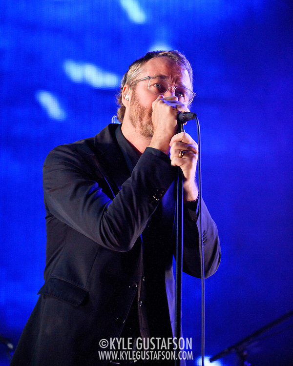 COLUMBIA, MD - June 6th,  2013 -   Matt Berninger of The National performs on a rainy night at Merriweather Post Pavilion in Columbia, MD.  The band just released their sixth studio album, Trouble Will Find Me, which debuted at No. 3 on both the US and UK album charts. (Photo by Kyle Gustafson/For The Washington Post)