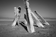 Monochrome photo of a nude woman standing against lake pilings in the Great Salt Lake, Utah
