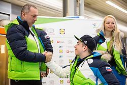 Damijan Lazar and Jernej Slivnik  prior to the departure of Slovenian Paralympic team for Pyeongchang 2018 Winter Paralympics, on March 3, 2018 in Letalisce Jozeta Pucnika, Brnik, Slovenia. Photo by Vid Ponikvar / Sportida