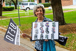 March 30, 2019 - Houston, TX, USA - a fan of Presidential hopeful Beto O'Rourke selling buttons during the Beto O'Rourke Official Kickoff for President Campaign Saturday, March 30, 2019 in Houston. Photo by: Juan DeLeon/Zuma Press (Credit Image: © Juan DeLeon/ZUMA Wire)