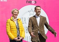 11.04.2014, Resselpark, Wien, AUT, NEOS, Plakatpraesentation zur EU-Wahl. im Bild v.l.n.r. NEOS Spitzenkandidatin zur EU Wahl Angelika Mlinar und NEOS-Bundesgeschaeftsfuehrer Feri Thierry // f.l.t.r. NEOS Topcandidate for EU Election Angelika Mlinar and Feri Thieryy during presentation of placards for EU Election at Resselpark in Vienna, Austria on 2014/04/11. EXPA Pictures © 2014, PhotoCredit: EXPA/ Michael Gruber