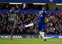 Football - 2018 / 2019 Premier League - Chelsea vs. Leicester City<br /> <br /> Antonio Rudiger (Chelsea FC)  completely mis-times his volley at Stamford Bridge <br /> <br /> COLORSPORT/DANIEL BEARHAM