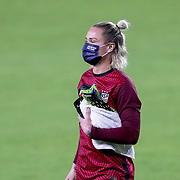 ORLANDO, FL - JANUARY 22:  Ashlyn Harris #18 of United States wears a face mask after a game against Columbia at Exploria Stadium on January 22, 2021 in Orlando, Florida. (Photo by Alex Menendez/Getty Images) *** Local Caption *** Ashlyn Harris