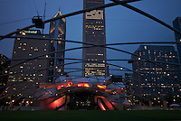 View of jay Pritzker Pavilion and Great Lawn in Millennium Park in Chicago. Multicultural events are hosted here.