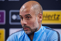 """July 19, 2018 - Chicago, IL, U.S. - CHICAGO, IL - JULY 19: Manchester City head coach Josep """"Pep"""" Guardiola answers questions from the media during Manchester City's press conference on July 19, 2018 held at Soldier Field in Chicago, Illinois. (Photo by Robin Alam/Icon Sportswire) (Credit Image: © Robin Alam/Icon SMI via ZUMA Press)"""