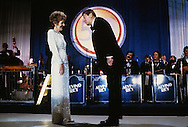 President Ronald Reagan asks First Lady Nancy Reagan to dance at an Inaugural Ball in January 1985...Photograph by Dennis Brack bb 27