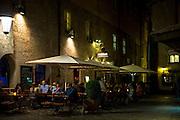 People drinking beer at Stiftskeller Bierkeller in Stiftgasse near Herzog Friedrich Strasse in Innsbruck in the Tyrol Austria