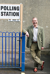 ***LNP HIGHLIGHTS OF THE WEEK ***  © Licensed to London News Pictures. 22/05/2014. Biggin Hill, UK Leader of The UK independence Party (UKIP) Nigel Farage arrives at Cudham C.E. Primary School in Biggin Hill, Westerham to cast his vote in European and local council elections today 22nd May 2014. Photo credit : Stephen Simpson/LNP