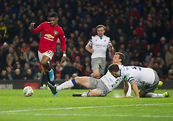 Marcus Rashford of Manchester United scores his sides first goal - Mandatory by-line: Jack Phillips/JMP - 18/12/2019 - FOOTBALL - Old Trafford - Manchester, England - Manchester United v Colchester United - English League Cup Quarter Final