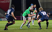 Harlequins lock Matt Symons drives at the Sale Sharks defence during a Gallagher Premiership match at the AJ Bell Stadium, Eccles, Greater Manchester, United Kingdom, Friday, April 5, 2019. (Steve Flynn/Image of Sport)