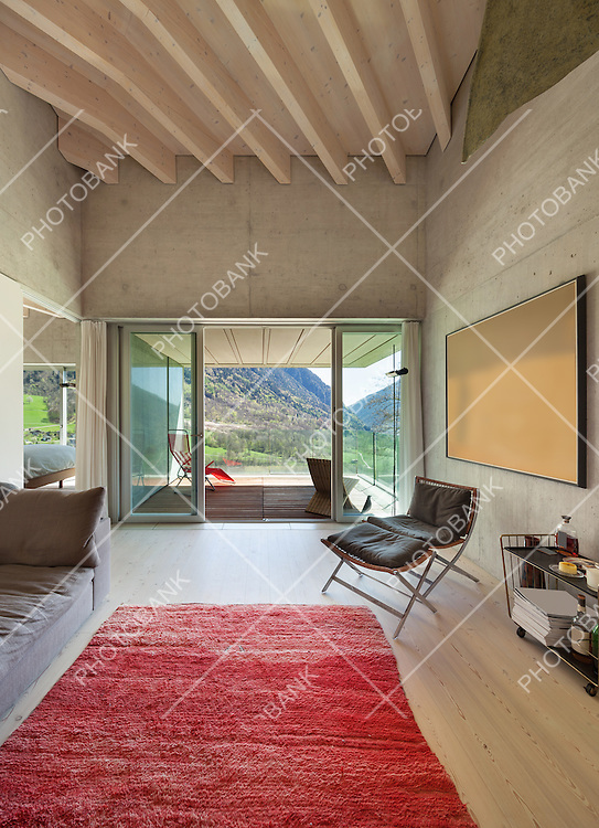 Interior of a modern loft, living with red carpet. concrete walls
