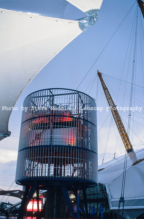 One of the towers supplying power to the exhibition inside the Millennium Dome, Greenwich, London, England - 27 November 2000