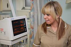 Auxiliary Nurse using Spacelab on Emergency Short Stay Unit,