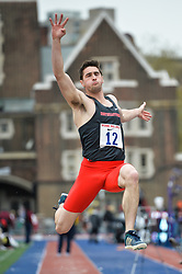 April 27, 2018 - Philadelphia, Pennsylvania, U.S - KYLE DARROW (12) from Northeastern competes in the Long Jump Championships during the meet held in Franklin Field in Philadelphia, Pennsylvania. (Credit Image: © Amy Sanderson via ZUMA Wire)