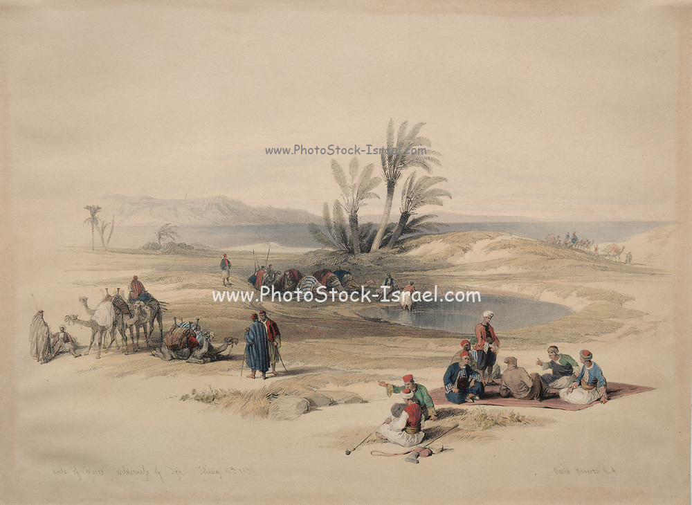 Wells of Moses, Wilderness of Tyh Color lithograph by David Roberts (1796-1864). An engraving reprint by Louis Haghe was published in a the book 'The Holy Land, Syria, Idumea, Arabia, Egypt and Nubia. in 1855 by D. Appleton & Co., 346 & 348 Broadway in New York.