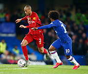 Liverpool's Fabinho in action during the English FA Cup fifth round soccer match between Chelsea and Liverpool at Stanford Bridge Stadium, Wednesday, March 3, 2020, in London, United Kingdom. (ESPA-Images/Image of Sport)