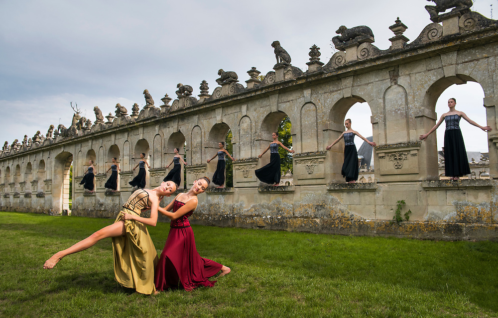 Dancers of the Northeast Youth Ballet on location at the Chateau de Raray, France