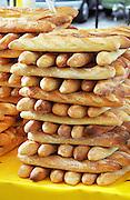 On Quai des Chartrons. A street market. French bread baguettes. On Les Quais. Bordeaux city, Aquitaine, Gironde, France