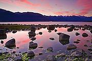 Alaska, Haines, Lutak Inlet, Rock, Dawn
