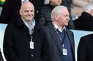 Newly elected FIFA President Gianni Infantino (l) watches on from the stands. Barclays Premier league match, Swansea city v Norwich city at the Liberty Stadium in Swansea, South Wales on Saturday 5th March 2016.<br /> pic by  Carl Robertson, Andrew Orchard sports photography.