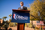 06 DECEMBER 2011 - PARADISE VALLEY, AZ: Mitt Romney speaks Tuesday at Hermosa Inn. Former Vice President Dan Quayle endorsed Republic Presidential hopeful Mitt Romney at the Hermosa Inn in Paradise Valley Tuesday.    PHOTO BY JACK KURTZ