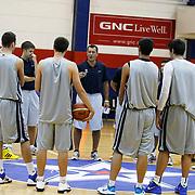 Turkish Basketball team Anadolu Efes's coach Ufuk SARICA (C) during their new season training at Anadolu Efes sports hall in Istanbul Turkey on Monday 22 August 2011. Photo by TURKPIX