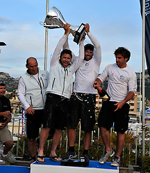 Damien Iehl and his French Match Racing Team celebrate their win at Match Race France. Photo: Chris Davies/WMRT