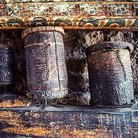 Tibetan Buddhist prayer wheels in Manang village north of Annapurna in Nepal.