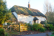 Attractive traditional thatched cottage in village of Manningford Bruce, Wiltshire, England, UK