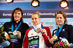 25.11.2010, Pieter van den Hoogenband Zwemstadion, Eindhoven, NED, Kurzbahn Schwimm EM, im Bild ..200m Backstroke podium.Kimberly BUYS Silver, Evelyn VERRASZTO Hungary Gold, Lara GRANGEON France Bronze. // Eindhoven 25/11/2010 .European Short Course Swimming Championships, EXPA/ InsideFoto/ Staccioli+++++ ATTENTION - FOR AUSTRIA/AUT, SLOVENIA/SLO, SERBIA/SRB an CROATIA/CRO CLIENT ONLY +++++ / SPORTIDA