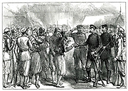 Russo-Turkish War 1877-1878.  Tsar Alexander II giving cigarettes to Turkish prisoners of war at Simnitza.    Engraving from 'The llustrated London News' London, 28 July 1877.