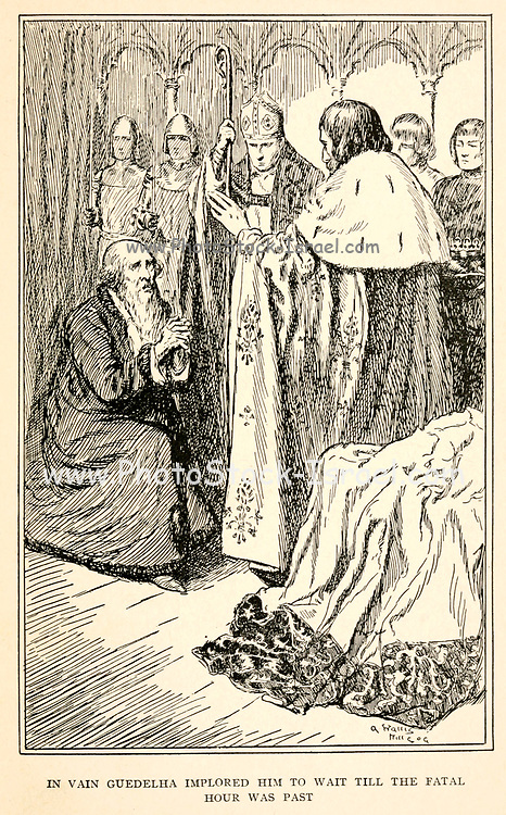 In vain Guedelha implored him to wait till the fatal hour was past illustrating the Story ' The Constant Prince ' From the book '  The red book of heroes ' by Mrs. Lang, Edited by Andrew Lang, illustrated by A. Wallis Mills, Published by Longmans, Green, and Co. New York, London, Bombay and Calcutta in 1909